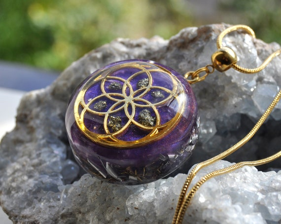 Seed of Life Orgonite® Pendant with Pyrite Cluster Necklace
