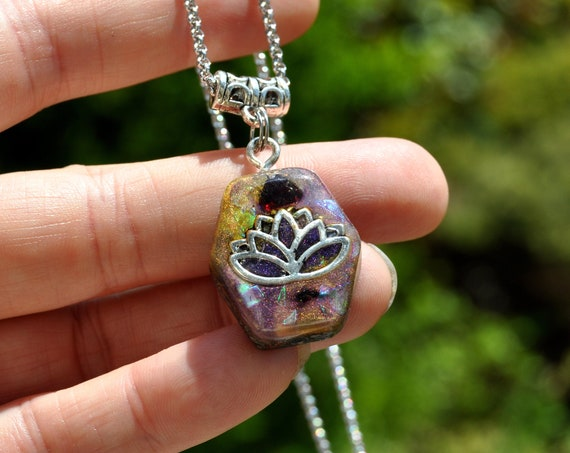 Lotus Flower Red Garnet Orgonite® Orgone Pendant Necklace, small Hexagon Shape