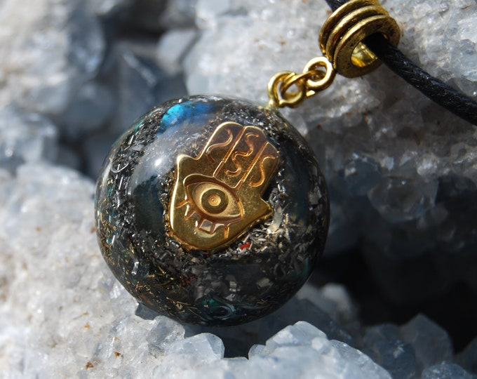 Protection Hand of Mary Orgonite® Orgone Pendant Labradorite