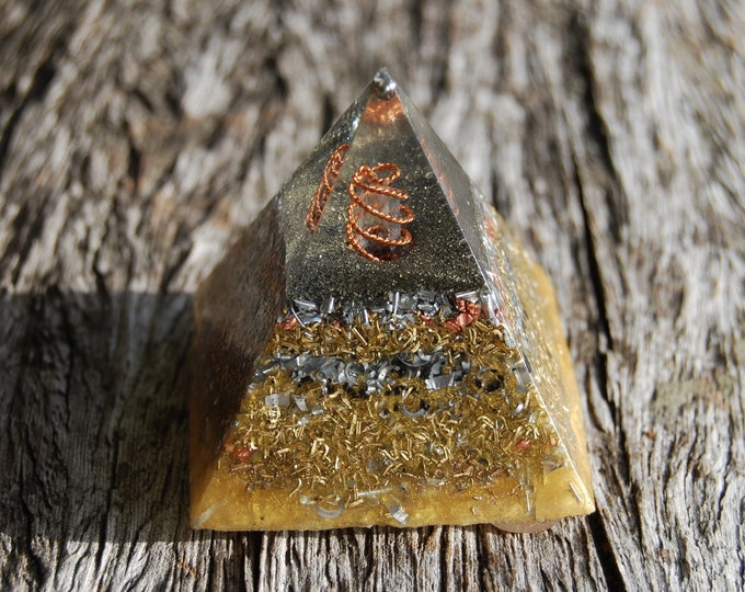 Orgonite® Pyramid with Pyrite and Copper Coil