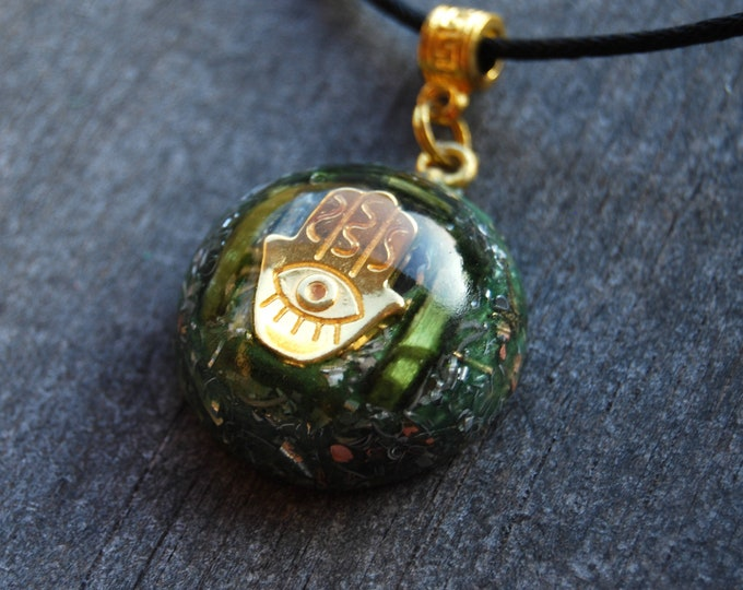Protection Hand of Mary Orgonite® Orgone Pendant Green Tourmaline