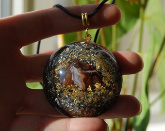 Fire Agate Orgonite®Orgone Pendant Necklace LARGE
