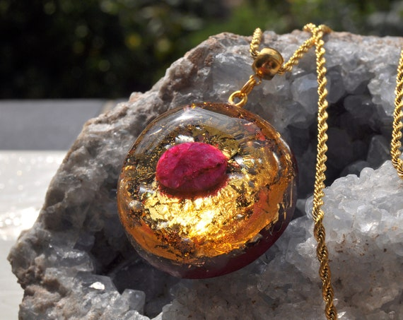 Red Ruby Orgonite® Pendant with 24k Gold