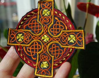 Orange Celtic cross Patch Applique Embroidery