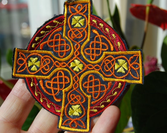 Orange Celtic cross Patch Applique Embroidery