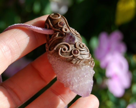 Lavender Spirit Quartz Clay Crystal Pendant Necklace - FREE SHipping !