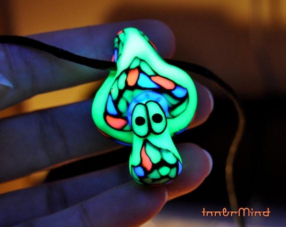 UV Mushroom Pendant Psychedelic Necklace, Handsculpted Clay