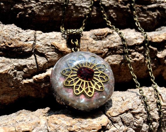 RED GARNET Orgonite® Orgone Necklace Pendant - Free Shipping !