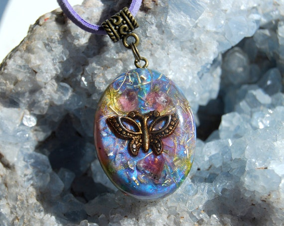 Pink Tourmaline Orgonite® Orgone Pendant Butterfly Necklace