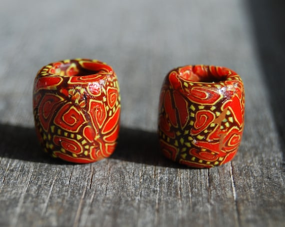 8 mm TWO UV Blacklight Reactive Dread beads Small  Clay Handsculpted