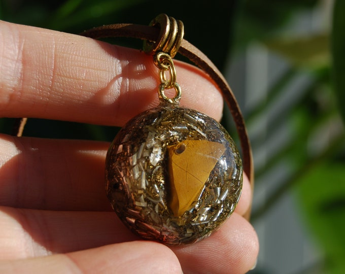 Yellow Jasper Orgonite® Pendant on adjustable Faux suede Cord