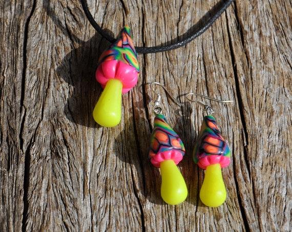 UV Mushroom Earrings and Pendant, UV Polymer Clay