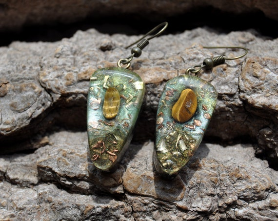 Orgonite® orgone Earrings with Tiger's Eye