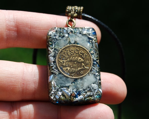 Aquamarine Orgonite® Pendant Pisces Zodiac Sign, Unisex Jewellery