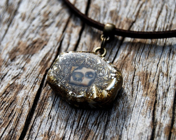 Orbicular Ocean Jasper Orgonite® Orgone Pendant Necklace small Hexagon Shape - Free Shipping !