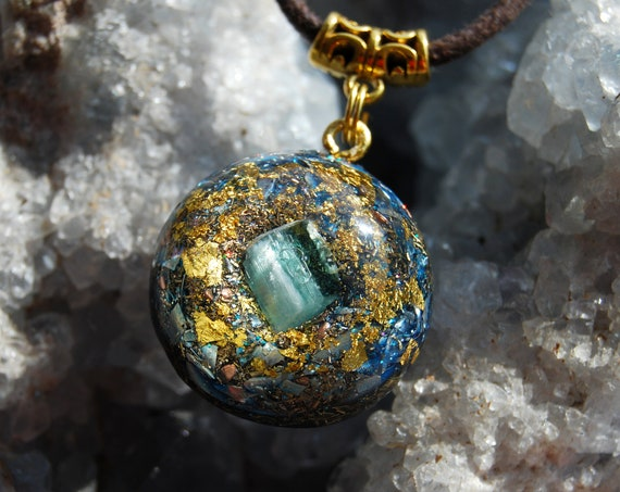 blue Tourmaline Crystal Orgonite® with 24K Gold, Indicolite Crystal, Orgone pendant Necklace Small UNISEX