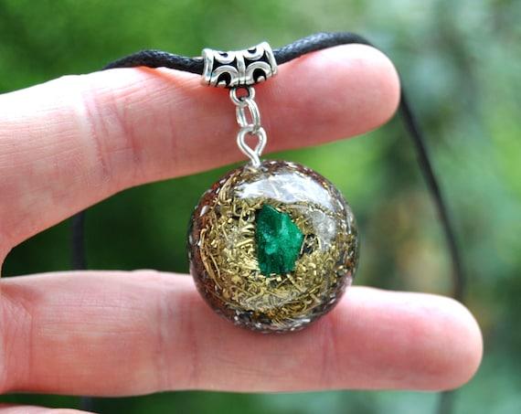 Raw Malachite Orgone Orgonite® Pendant Necklace, Unisex