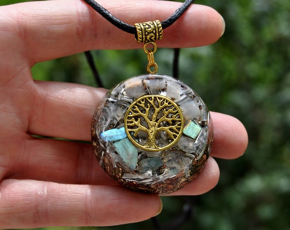 Orgonite® Tree of Life Pendant Orgone Necklace with real Moonstone and Labradorite Unisex