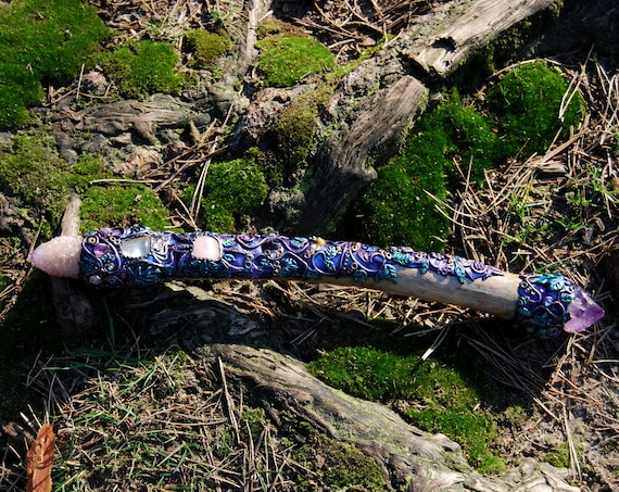 Magic Crystal Wand Pine Wood Scepter Sceptre Staff Spirit Quartz Amethyst Cluster Healing Energy Tool Handsculpted Clay Unique