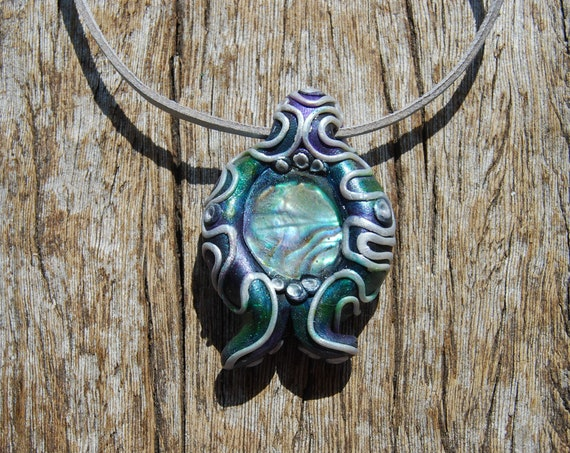 Abalone Necklace,  Handsculpted Clay Pendant