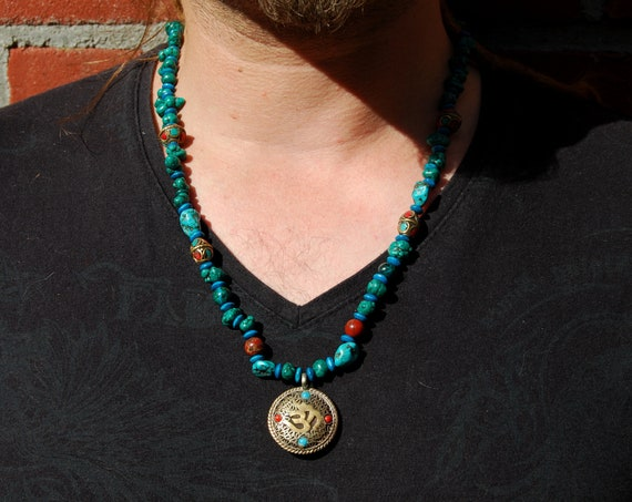 Aum & Vajra Dorje, Turquoise Freeform Nuggets Beaded Gemstone Necklace, Vintage Mens - Free Shipping !