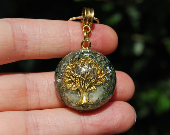 Kunzite Orgonite® Orgone Small Pendant with Tree