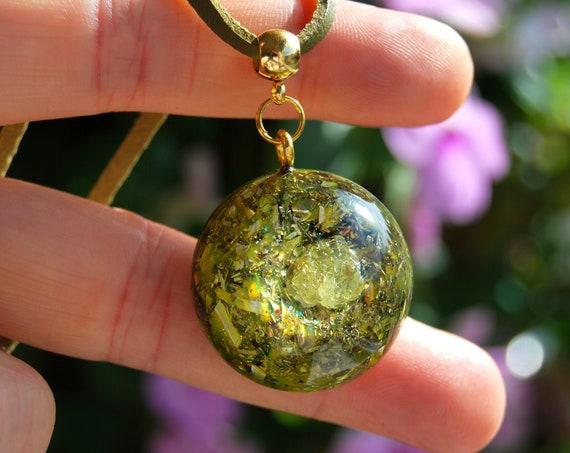 Sulphur Crystal Orgonite® Pendant Small Unisex, Solar Plexus Chakra Healing Activating Balance