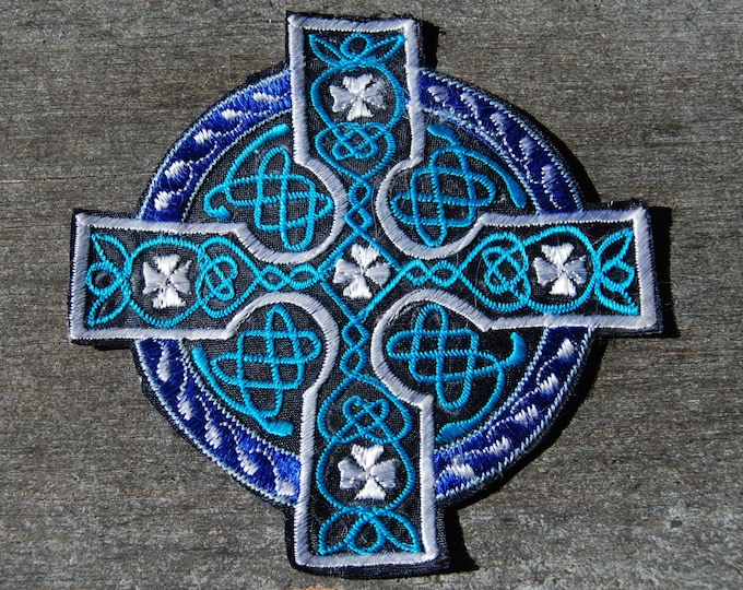 Blue Celtic cross Patch Applique Embroidery