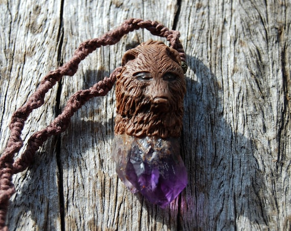Wolf Bear Guardian Pendant, Amethyst Crystal Point Necklace,  Handsculpted Clay, Unisex, HEMP cord - FREE Shipping !