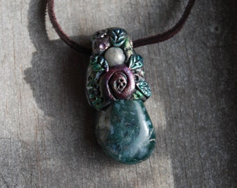 Moss Agate Pendant with Labradorite Handsculpted Clay Gemstone Necklace