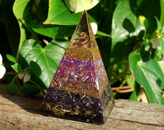 Amethyst Crystal Orgonite® Russian Pyramid 479 grams -  FREE Shipping !