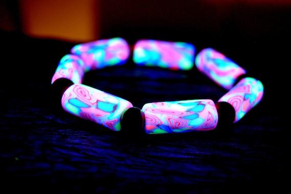 Uv bracelet Polymer Clay Wood UV Blacklight
