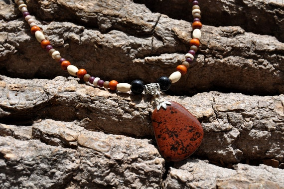 Mahogany Obsidian Beaded Necklace  - FREE Shipping