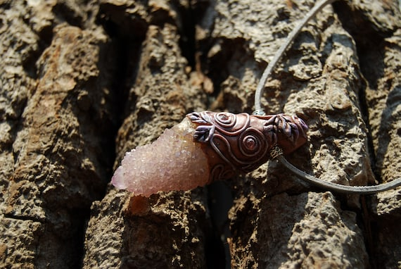Lavender Spirit Quartz Gemstone Clay Pendant, Woodland Fairy Necklace - FREE Shipping !