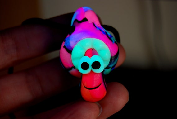 Psytrance UV Mushroom Pendant Necklace, Handsculpted Clay - FREE Shipping !