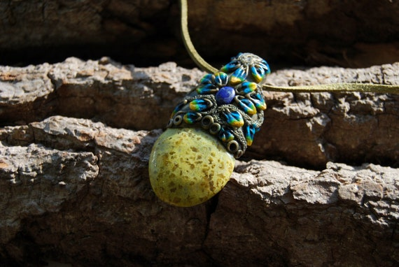 Green Opal Necklace Clay Gemstone, Unisex Unique - FREE Shipping !
