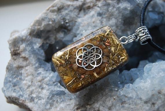 Seed of Life Orgonite® orgone Pendant with orange Calcite, Unisex Necklace