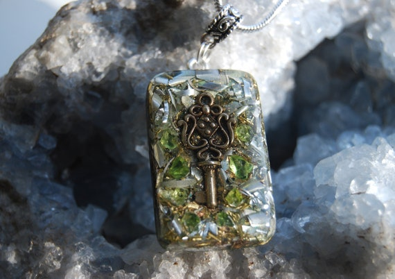 Peridote Orgonite® Orgone Pendant Necklace Key Unisex