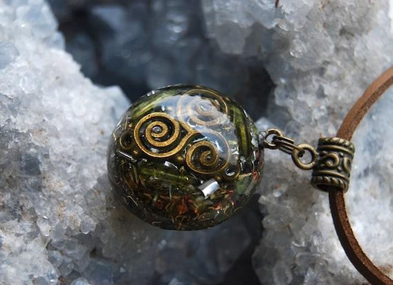 Green Tourmaline Orgonite® Pendant Triskele Celtic Spiral Necklace FREE SHIPPING