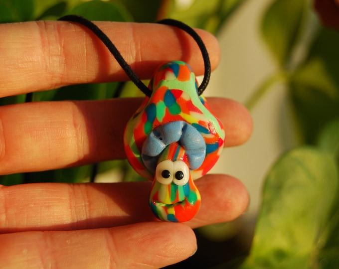 Mushroom UV Blacklight Handsculpted Clay Necklace