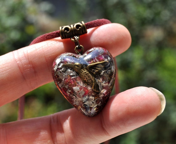 Hummingbird in Heart Orgonite® pendant Necklace