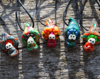 Set of FIVE Clay Mushroom Pendants UV Blacklight Active Necklaces Handsculpted Unique FREE Shipping !