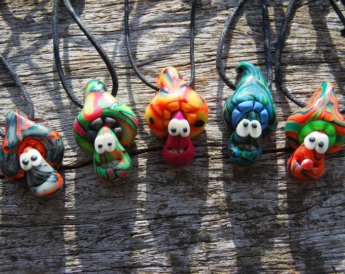 Set of FIVE Clay Mushroom Pendants UV Blacklight Active Necklaces Handsculpted Unique FREE Shipping !