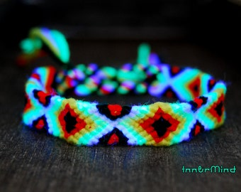 Unisex Friendship Bracelet Handwoven Psytrance UV Blacklight Reactive