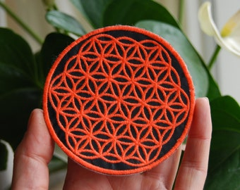 Flower of Life Patch Orange Neon UV  Fluorescent