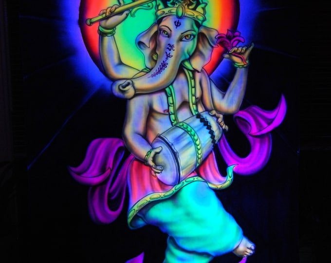AIRBRUSH UV Ganesha playing Drum
