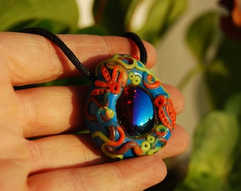 UV Blacklight Glass Pendant Fluorescent Clay Necklace