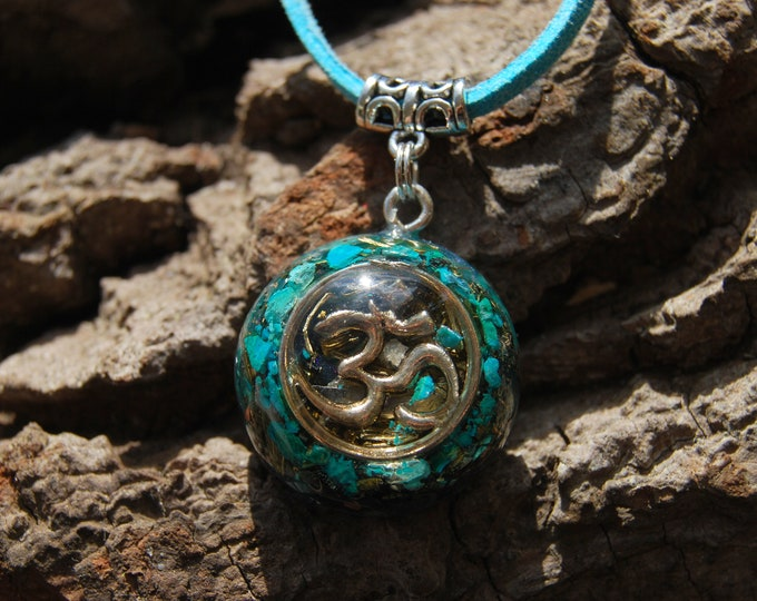 AUM Orgonite® Pendant with raw Chrysocolla pieces