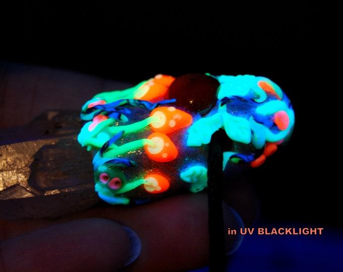 UV Mushroom Clay Woodland Candle Quartz Crystal Necklace Unisex
