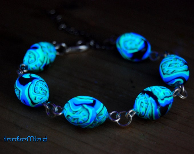 Adjustable Lobster Clasp Bracelet with Handsculpted PSY UV Blacklight Clay Beads